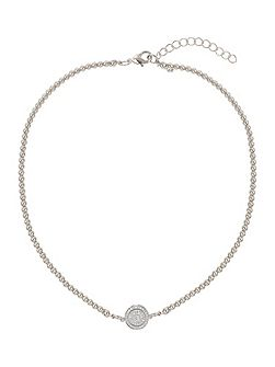 Disc circle crystal elastic necklace
