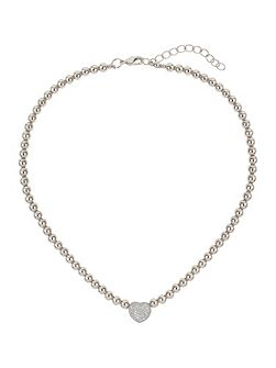 Studded crystal heart necklace