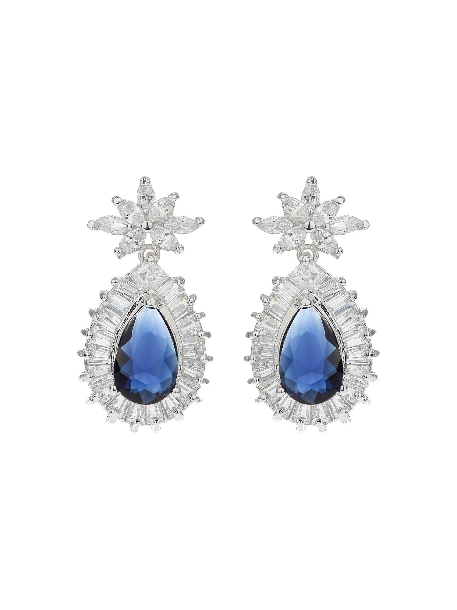 Mikey Baguette Surround Oval Centre Earring, N/A