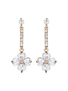 Daisy flower long drop earring