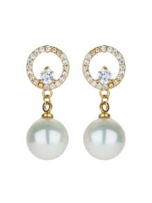 Mikey Crystal ring pearl drop earring