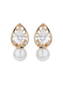 Mikey Leaf design cubic pearl drop earring