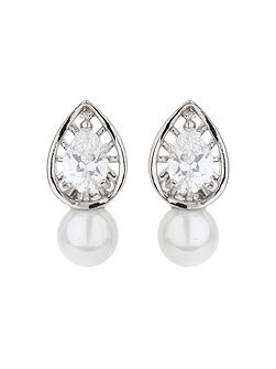 Leaf design cubic pearl drop earring