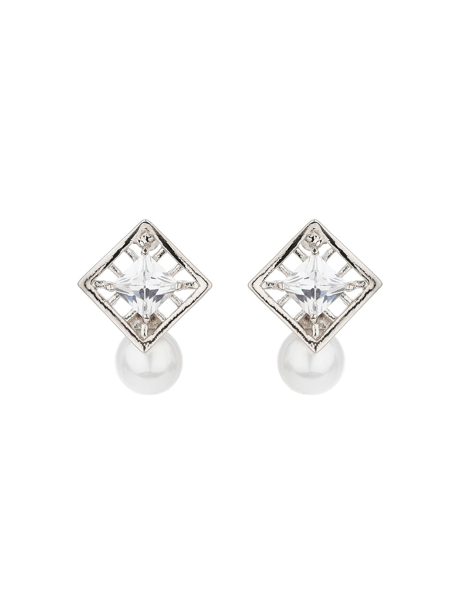 mikey square net cubic pearl drop earring