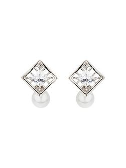 Square net cubic pearl drop earring