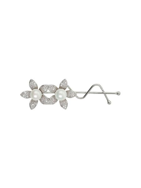 Mikey Twin flower marquise cubic hair slide