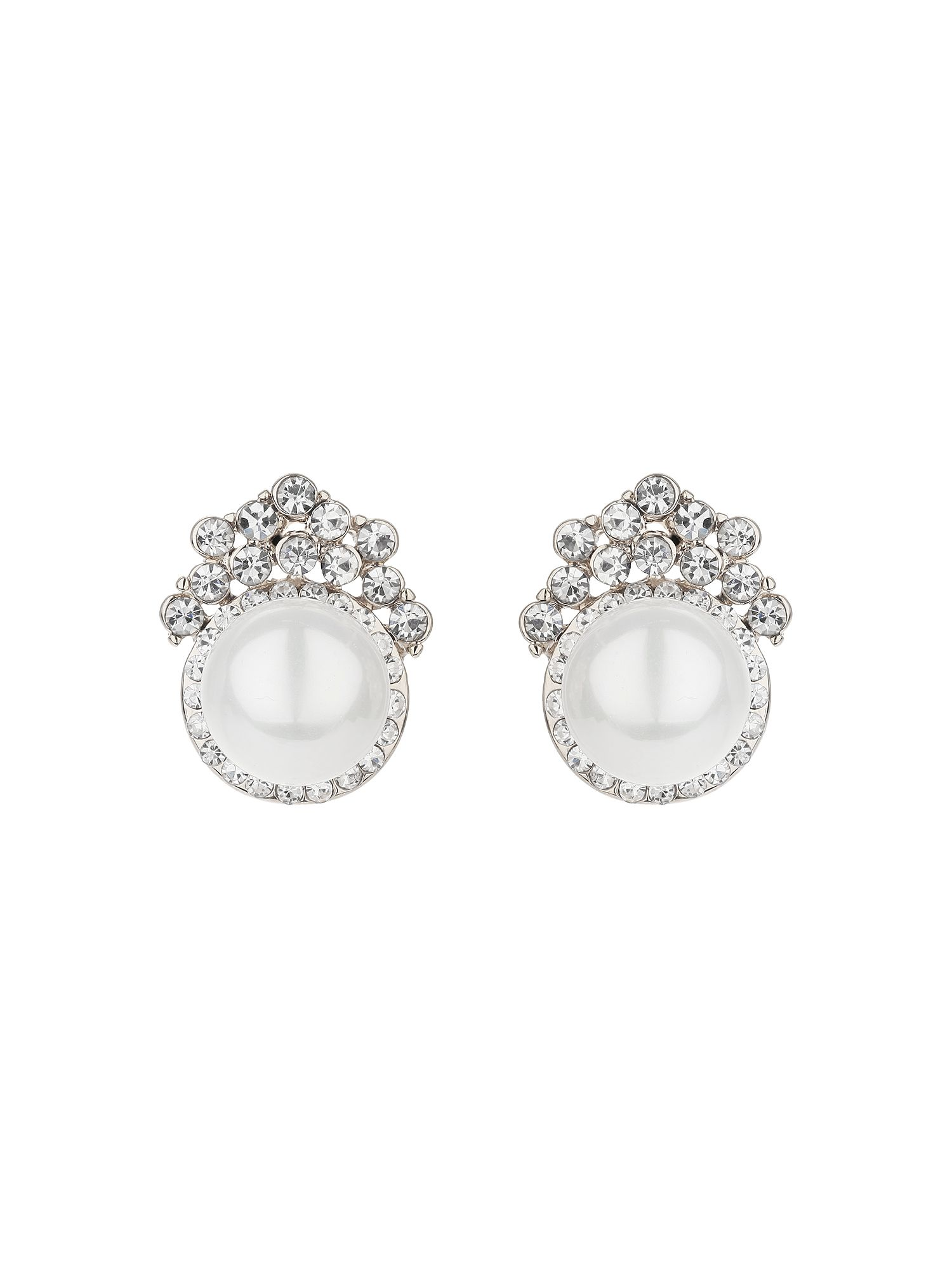 mikey pearl centre crystal crown stud earring