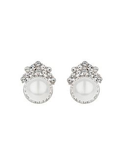 Pearl centre crystal crown stud earring