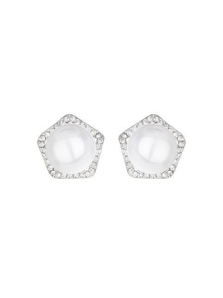 Mikey Pearl centre crystal hexagon stud
