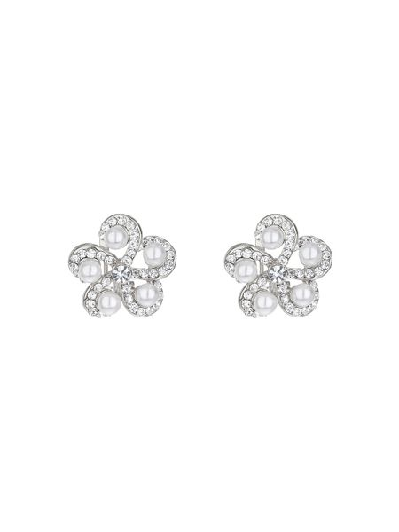 Mikey Spiral crystal pearl end stud earring