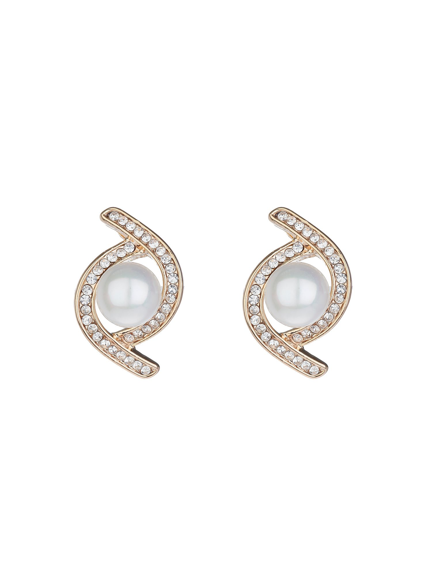 mikey twist crystal pearl centre stud earring