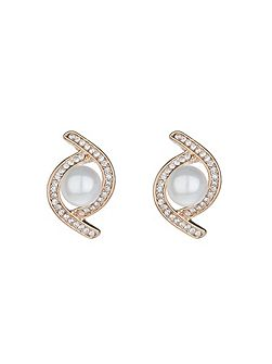 Twist crystal pearl centre stud earring