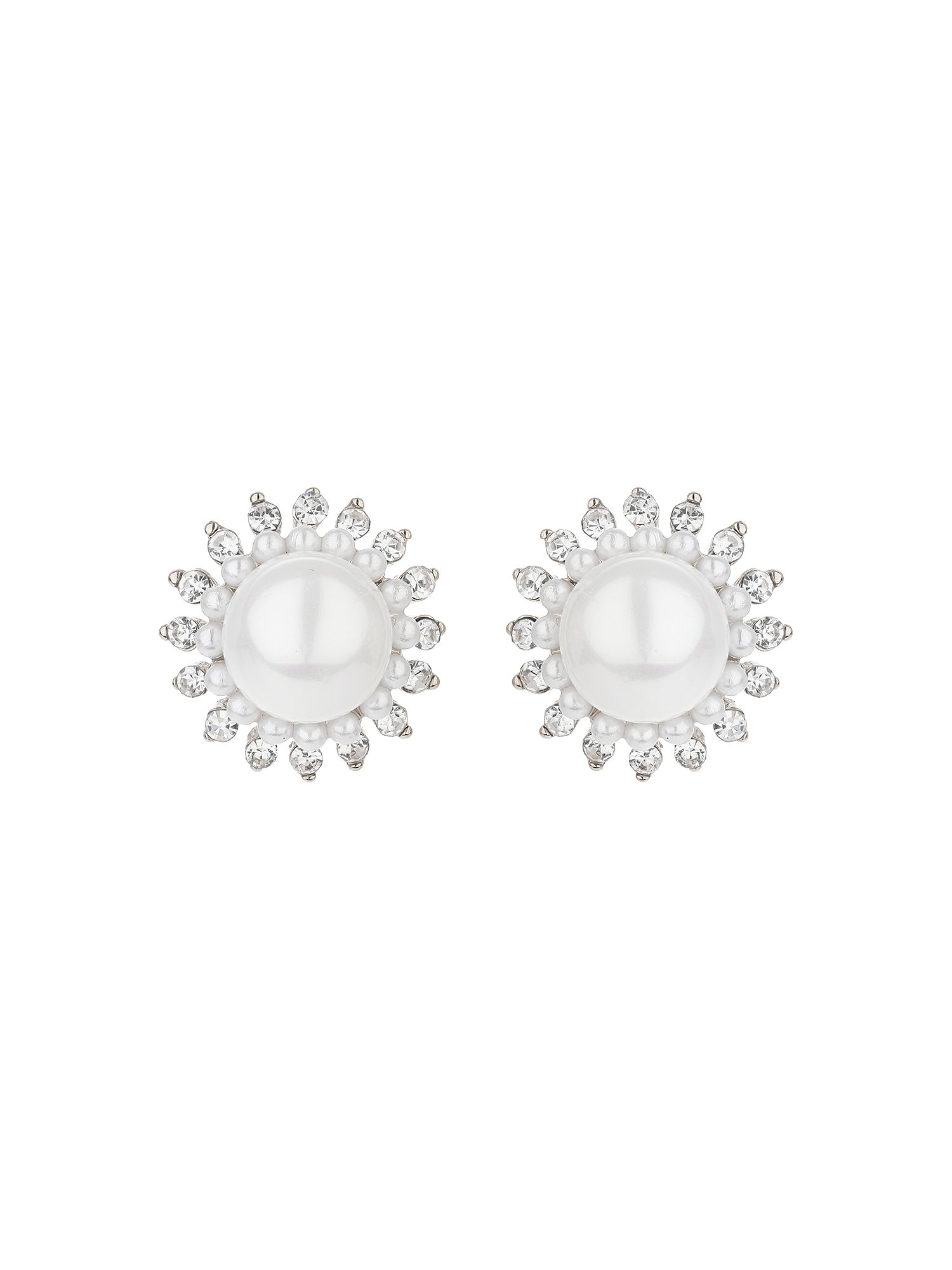 mikey multi spike crystal pearl centre stud