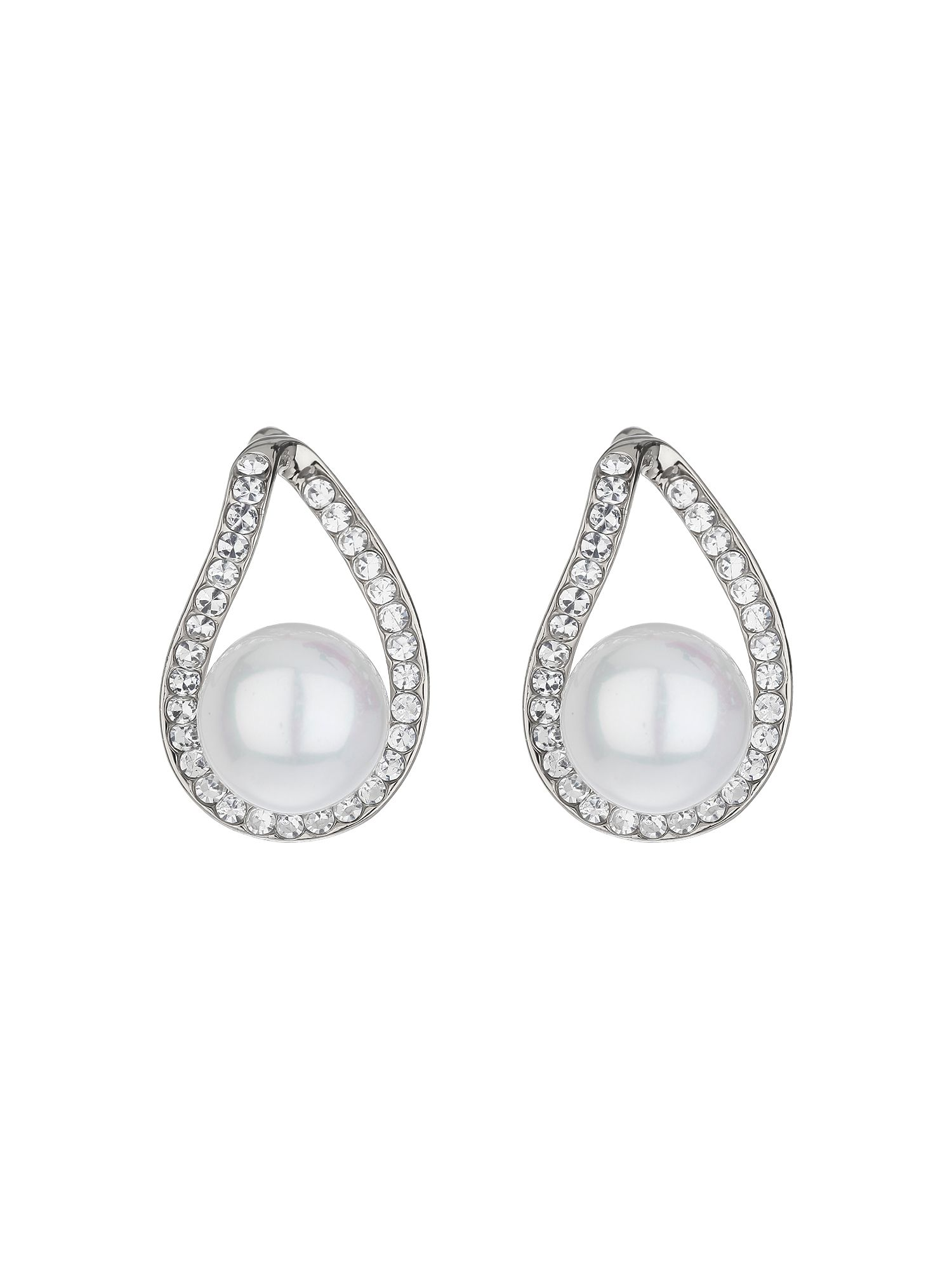 mikey loop crystal pearl drop earring