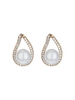 Loop crystal pearl drop earring