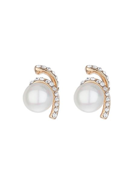 Mikey Twister crystal pearl drop earring