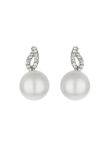 Mikey Twist loop crystal pearl drop earring