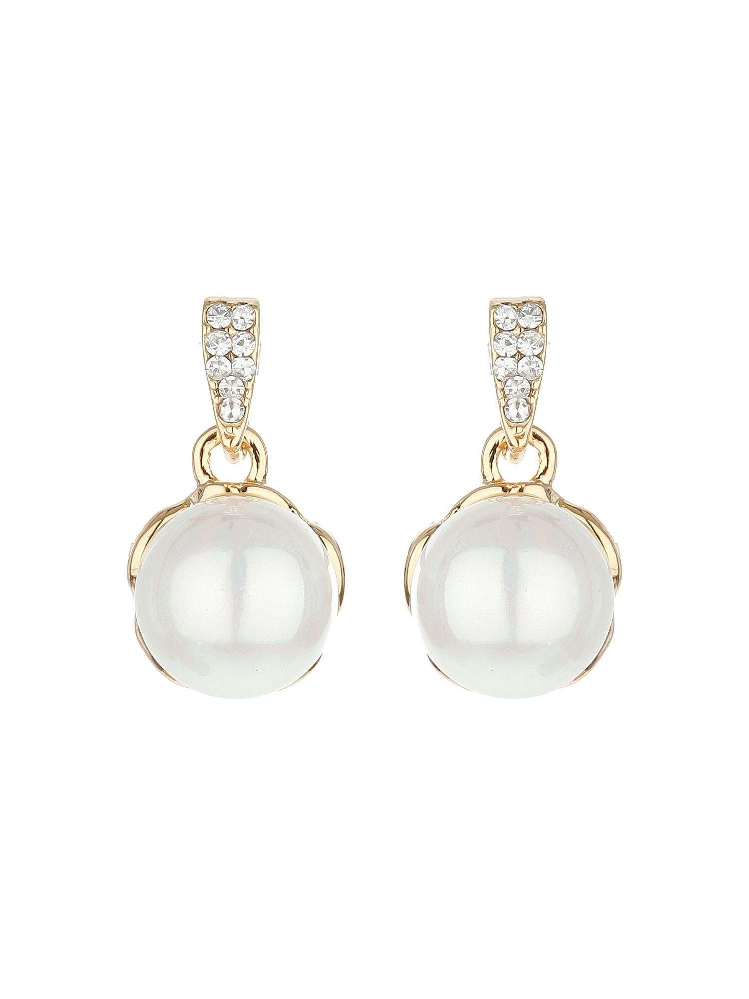 mikey claw crystal pearl drop earring