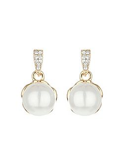 Claw crystal pearl drop earring