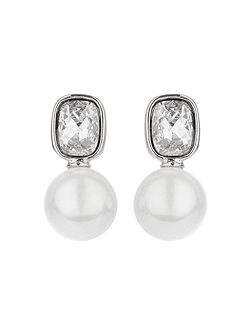 Square crystal pearl drop earring