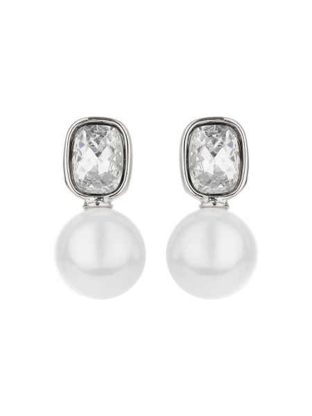Mikey Square crystal pearl drop earring