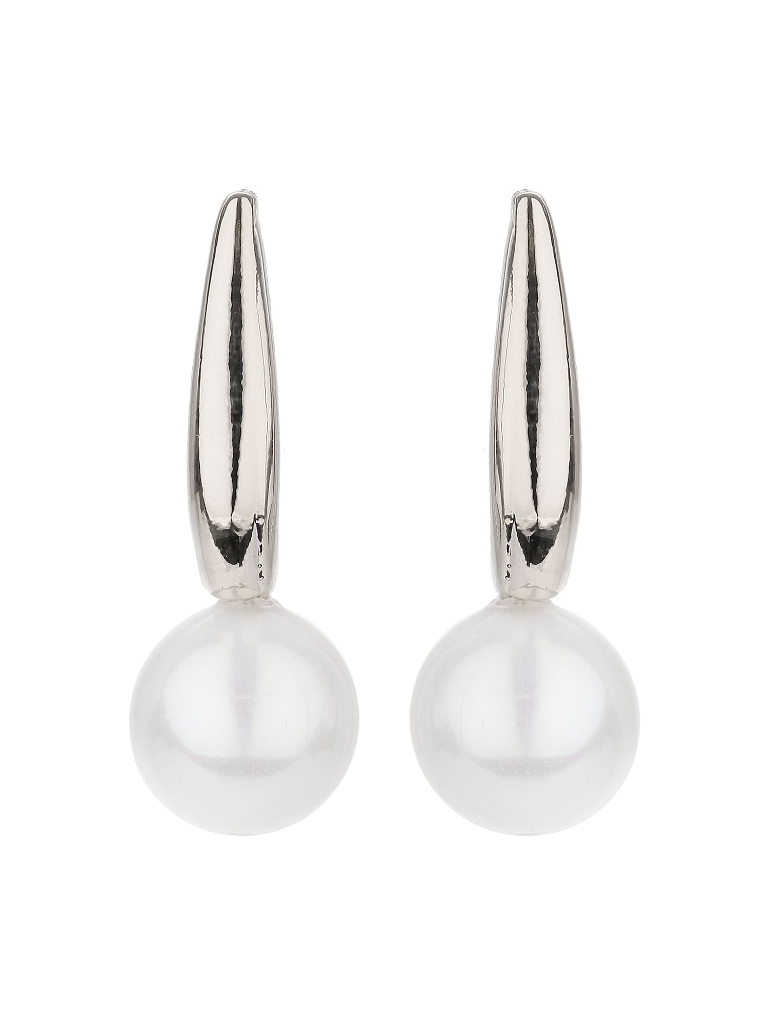 mikey plain hoop pearl drop earring