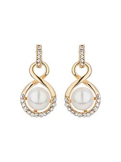 Drop twisted crystal pearl earring