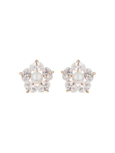 Mikey Star crystal pearl stud earring
