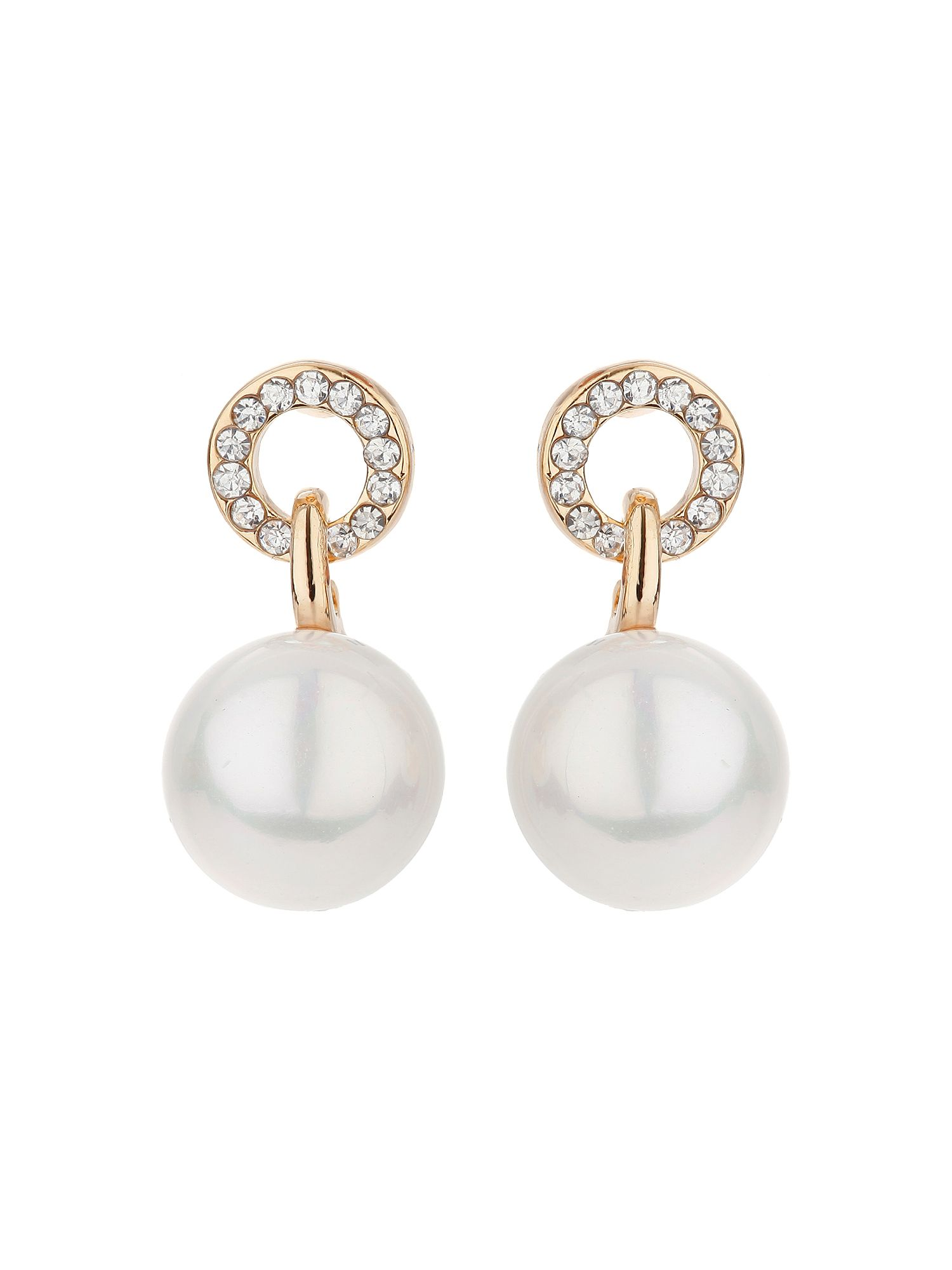 mikey cricle loop crystal pearl drop earring