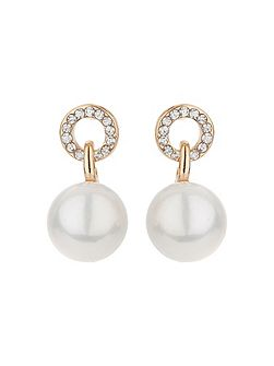 Cricle loop crystal pearl drop earring