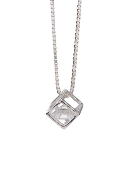 Mikey Silver 925 Disc Crystal Stone Pendant