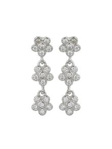Mikey Silver 925 Triple Flower Drop Earring