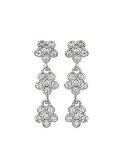 Silver 925 Triple Flower Drop Earring