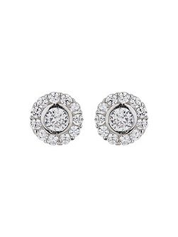 Silver 925 Twin Circle Crystal Stud
