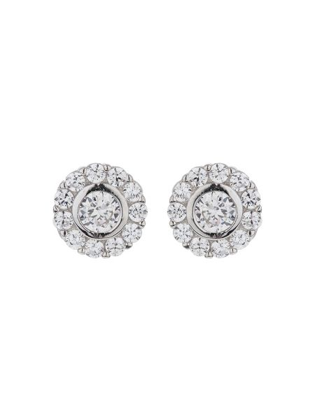 Mikey Silver 925 Twin Circle Crystal Stud