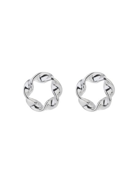 Mikey Silver 925 Plain Twisted Circle Stud