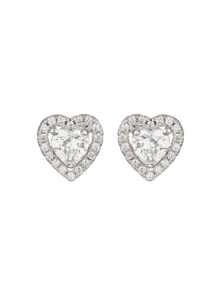 Mikey Filligree Heart Cubic Stud Earring