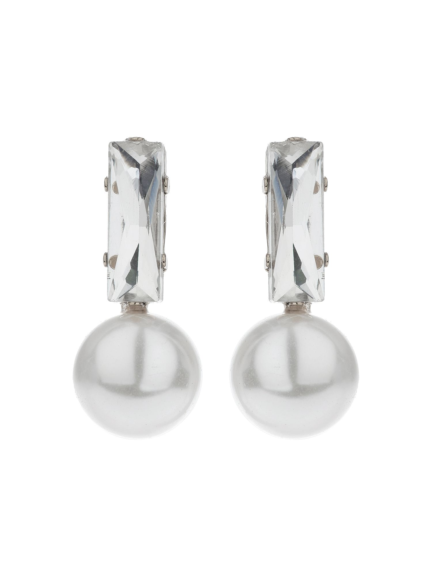 mikey baguette crystal pearl drop earring