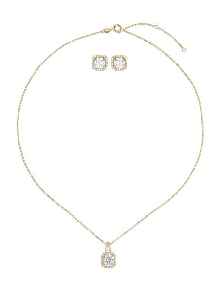Mikey Cubic square necklace stud set