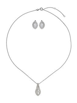 Cubic eclipse marquise necklace stud set