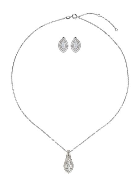 Mikey Cubic eclipse marquise necklace stud set