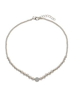 Fine cubic ball multi metal necklace