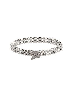 Single butterfly twin line bracelet