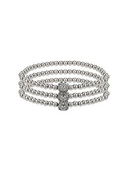 Triple oval linked crystal bracelet