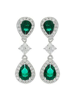 Twin Oval Cubic Linked Drop Earring