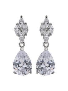 Mikey Flower stud oval cubic drop earring