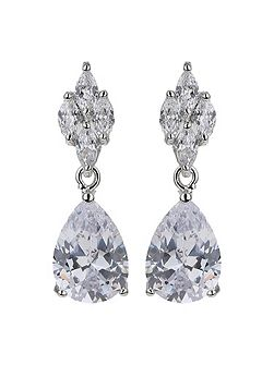Flower stud oval cubic drop earring