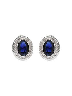 Oblong Cubic Surround Clip Stud Earring