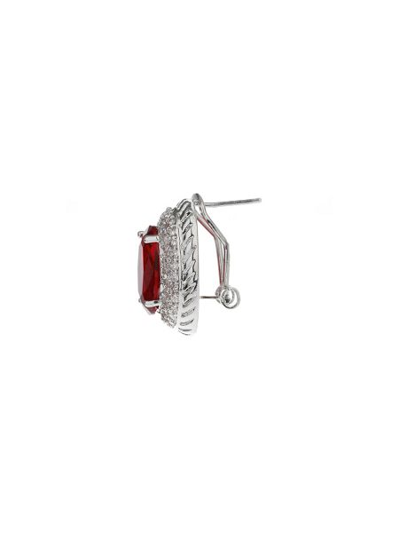 Mikey Oblong Cubic Surround Clip Stud Earring
