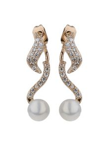 Mikey Twisted spiral pearl drop earring